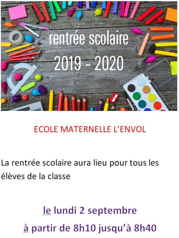 rentrrée maternelle 2019 2020