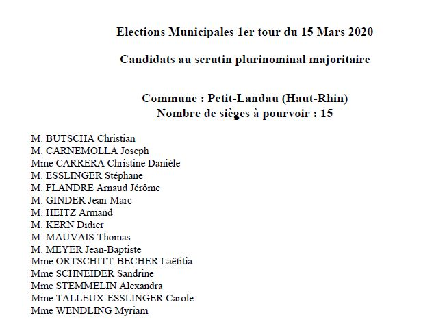liste candidats